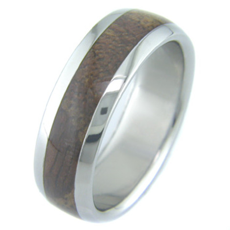 Men's Dome Profile Titanium and Koa Wood Wedding Ring