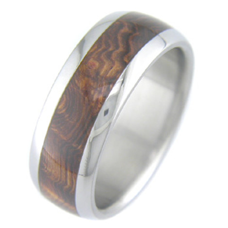 Men's Dome Profile Titanium and Burled Rosewood Band