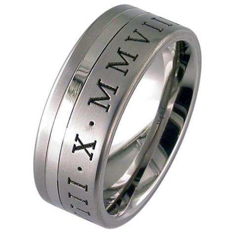 Titanium Offset Roman Numeral Ring