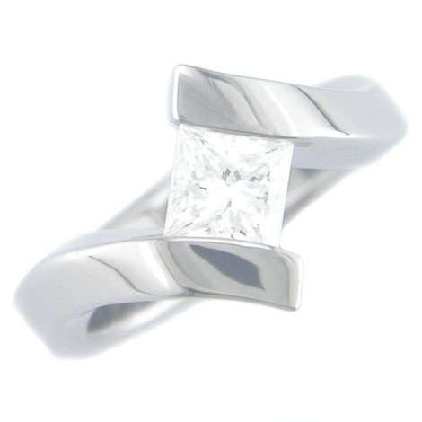 Women's Titanium Tilted Stone Ring