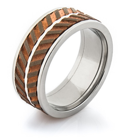 Men's Titanium and Copper Dual Spinner Wedding Ring