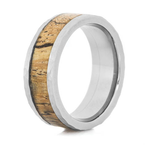 Men's Hammered Titanium Ring with Spalted Tamarind Wood Inlay
