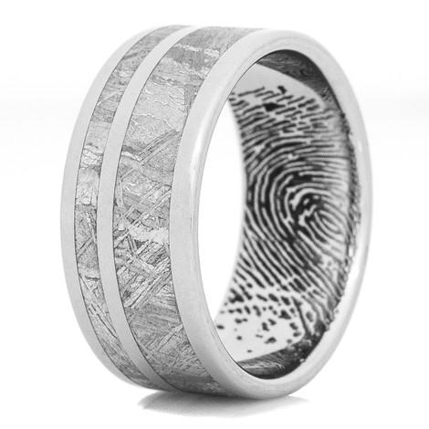Men's Titanium Gibeon Meteorite Ring with Dual Inlays & Finger Print