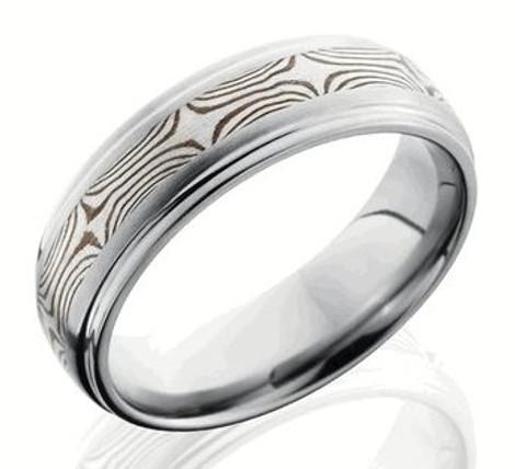 Men's Titanium Ring with Sterling and Shakudo Mokume Gane