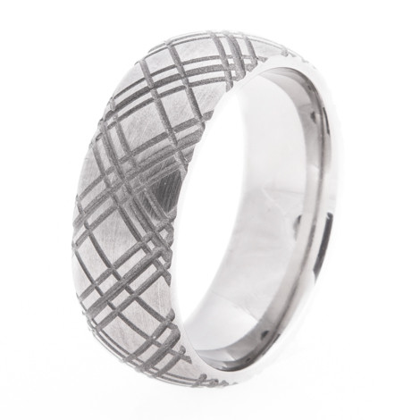 Men's Carved Plaid Titanium Ring