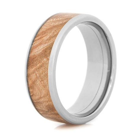 Men's Beveled Edge Polished Titanium and Maple Burl Wedding Ring