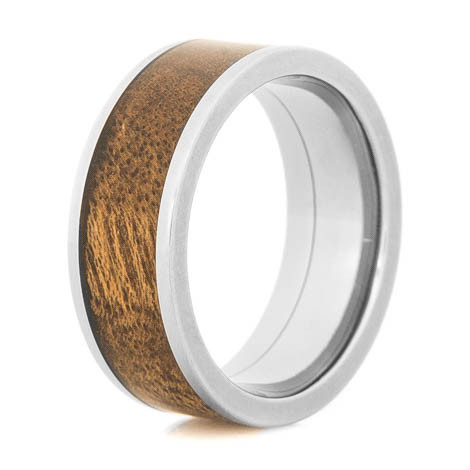 Men's Flat Profile Polished Titanium and Canxan Negro Burl Wood Ring
