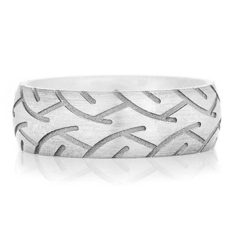 Men's Titanium Super Slick Tire Tread Ring