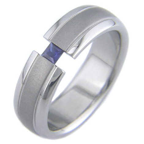Women's Titanium Tension Set Ring with Princess Cut Stone