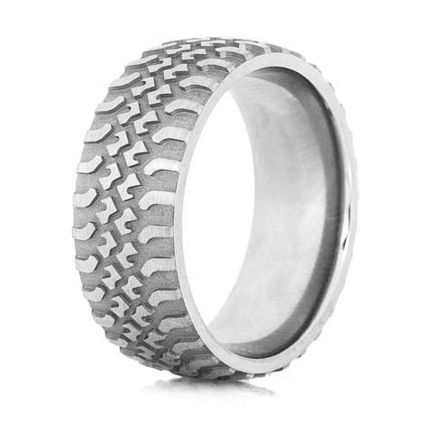 Men's Titanium Tire Tread Wedding Ring