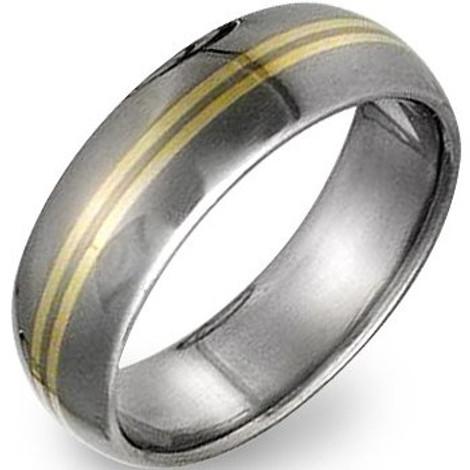 Men's Titanium Ring with Gold Inlay