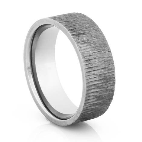 Men's Gunmetal Titanium Tree Bark Ring