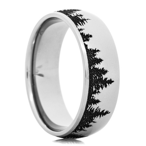 Men's Laser-Carved Cobalt Tree Line Ring