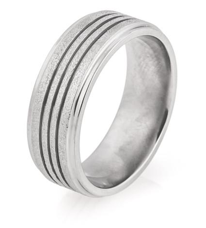 Men's Triple Groove Arctic Titanium Wedding Ring