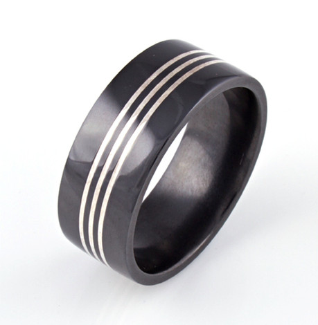 Men's Black Zirconium Ring with Triple Threat Sterling Silver Inlays