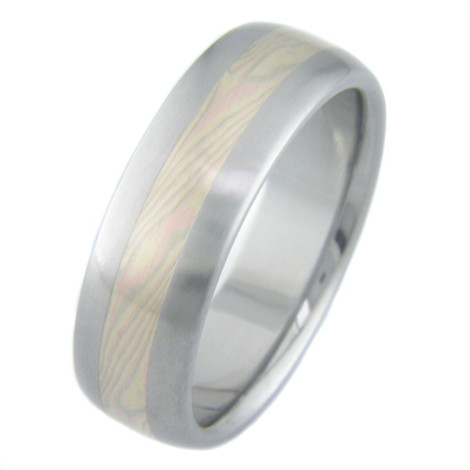Men's Tri-Gold Mokume Ring