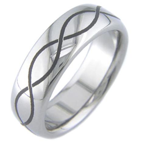 Men's Laser Engraved Titanium Infinity Symbol Ring