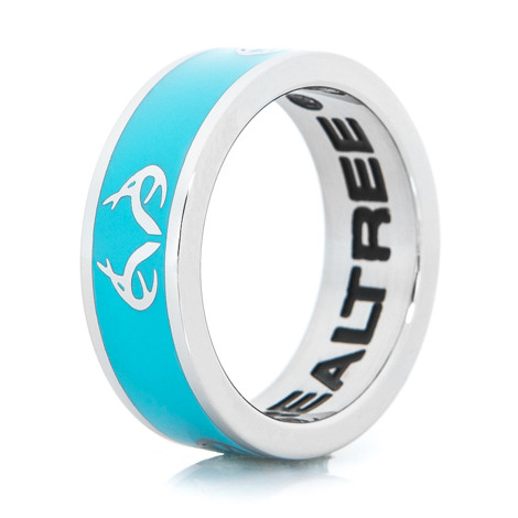 Women's Stainless Steel Turquoise Realtree Logo Ring