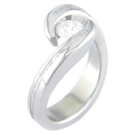 Women's Twisted Titanium Tension Set Stone Gibeon Meteorite Ring
