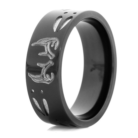 Men's Black Two-Tone Buck Ring