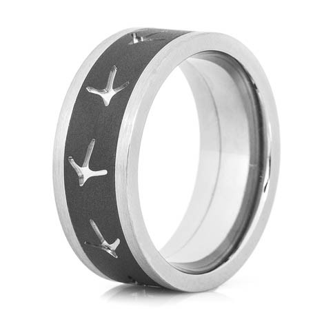 Men's Two-Tone Titanium Turkey Tracks Ring