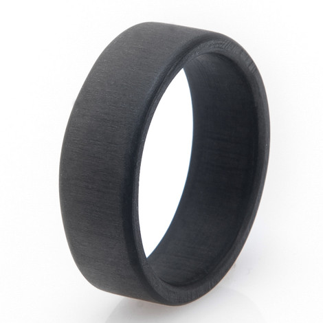 Men's Black Uni-Directional Matte Finish Narrow Carbon Fiber Ring