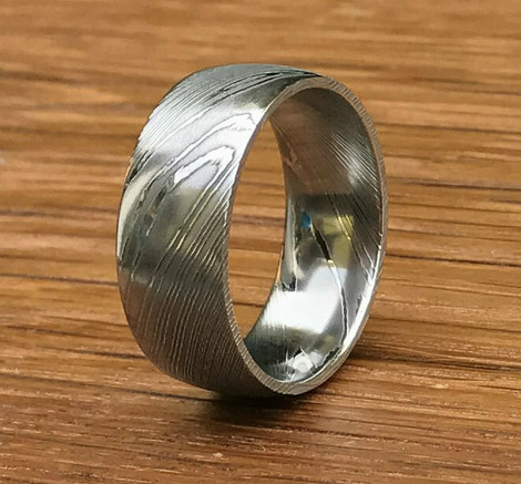 Men's Dome Profile Damascus Steel Wedding Ring