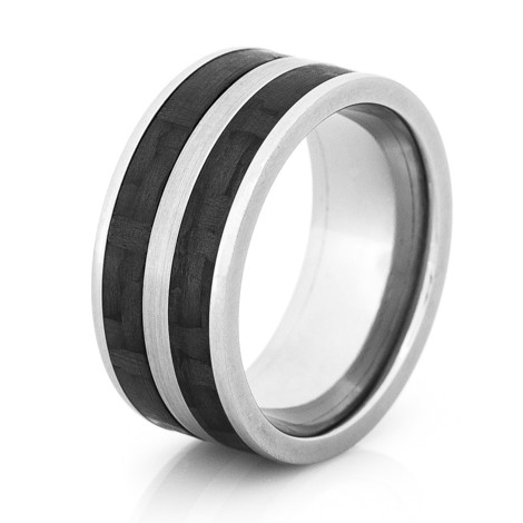 Wide Titanium Band with Dual Carbon Fiber