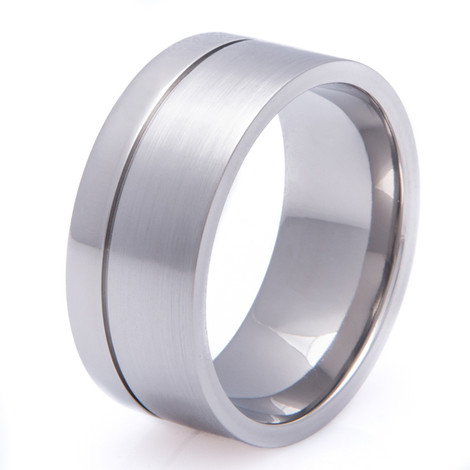 Wide Titanium Band With Offset Groove
