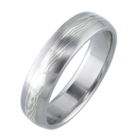 Titanium White Gold and Silver Twist Mokume Wedding Ring