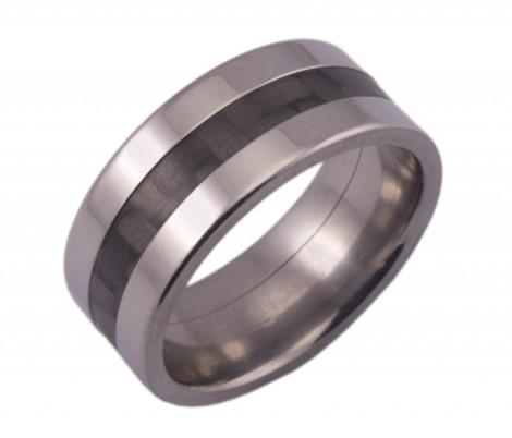 Wide Titanium  Wedding Ring and Carbon Fiber Inlay