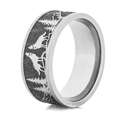 Men's Laser-Carved Titanium Wolf Ring