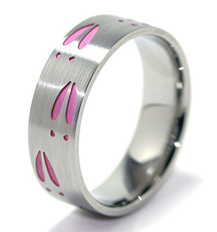 Women's Titanium Pink Deer Track Ring
