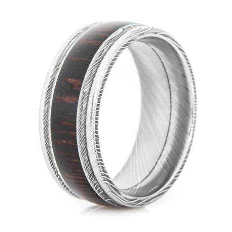 Men's Grooved Edge Damascus Steel Ring with Wenge Hardwood Inlay
