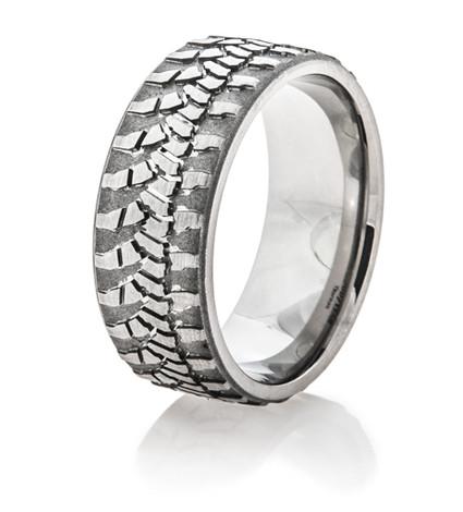 Men's Titanium Goodyear Wrangler Tire Tread Ring