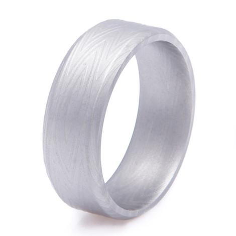 Men's Zebra Pattern Gunmetal Damascus Steel Ring