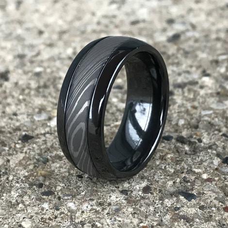 Men's Dome Profile Black Zirconium Ring with Damascus Steel Inlay