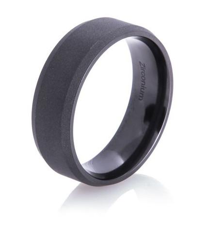 Men's Beveled Flat Black Ring