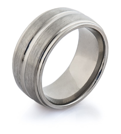 Wide Style Titanium Wedding Ring with Detailed Edge