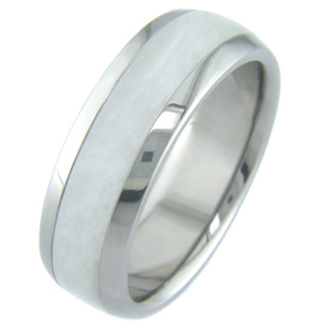 Titanium and White Pearl Inlay Ring