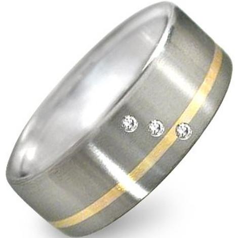 Men's Titanium Triple Diamond Ring with Gold Inlay