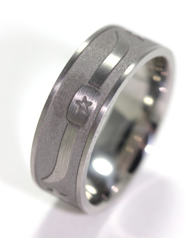 Men's Titanium Bull Horns and Stars Cowboy Ring