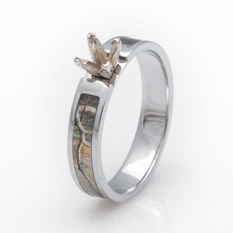 Women's Cobalt Camo Engagement Ring with Princess Cut Setting