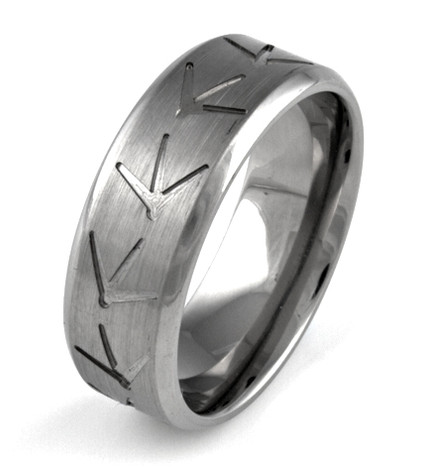 Men's Titanium Turkey Track Ring