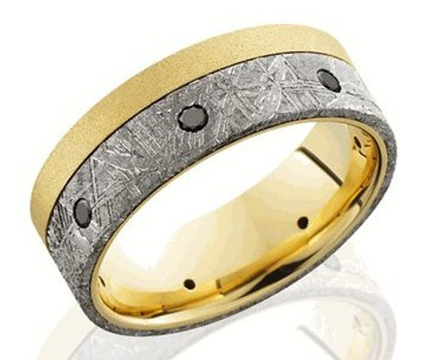 Men's Gold Meteorite Ring with Black Diamonds