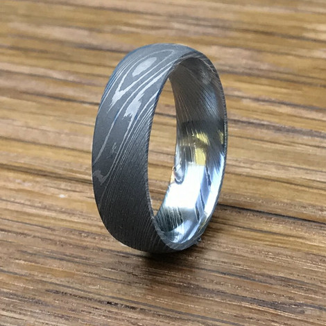 Men's Stainless Damascus Steel Wedding Band with Acid Finish