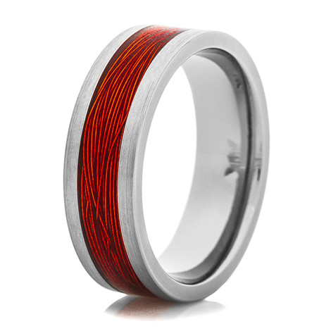 Men's Titanium Ring with Orange Fishing Wire Inlay