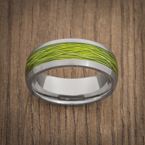 Men's Titanium Ring with Electric Green Fishing Wire Inlay