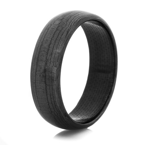 Mens Black Dome Solid Carbon Fiber Ring