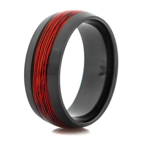 Men's Fly Fishing Ring with Black Zirconium and Burnt Orange Wire